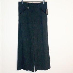 NEW Max Studio Black Print Wide Leg Pants Buttons